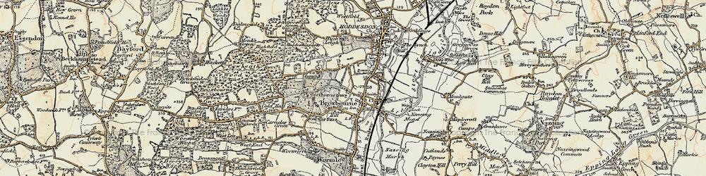 Old map of Broxbourne in 1898