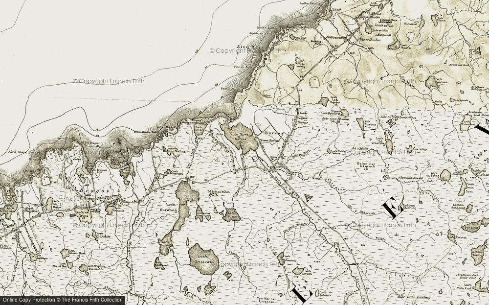 Old Map of Historic Map covering Allt Casgro in 1911