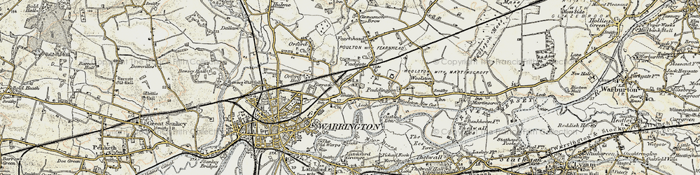Old map of Bruche in 1903