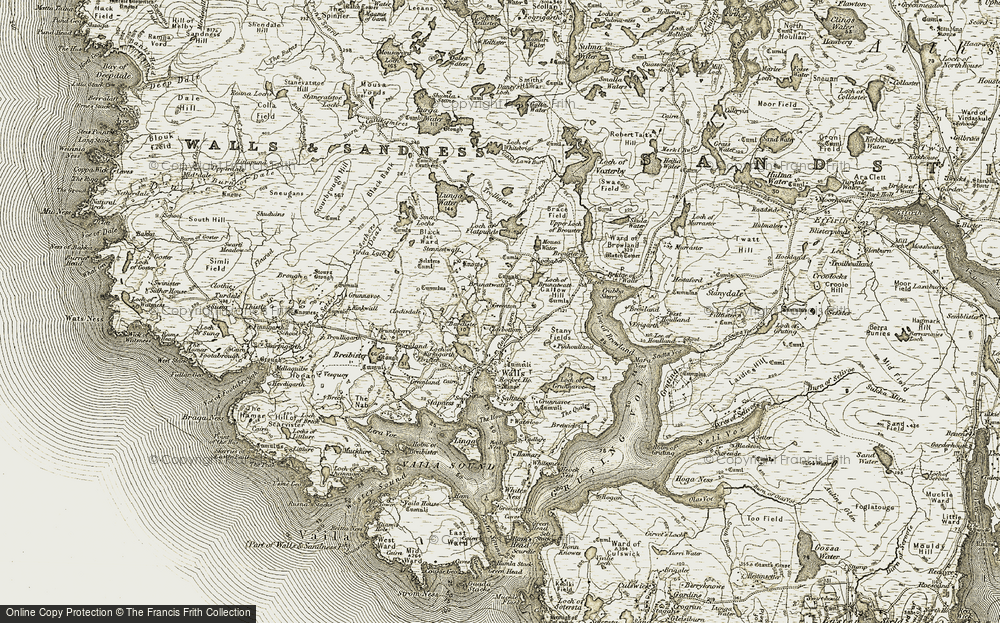 Old Map of Historic Map covering Bardister in 1911-1912