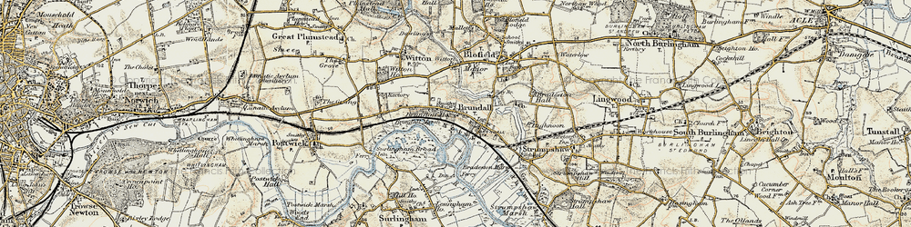 Old map of Brundall in 1901-1902
