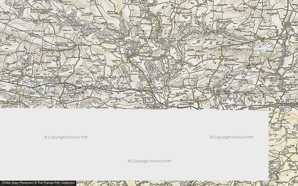 Old Map of Historic Map covering Allers Wood in 1898-1900