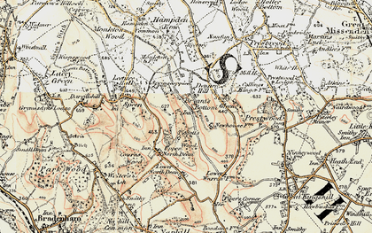 Old map of Bryant's Bottom in 1897-1898