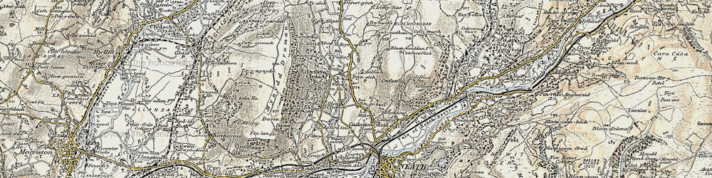 Old map of Bryncoch in 1900-1901