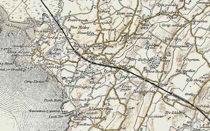 Old map of Barclodiad y Gawres in 1903-1910