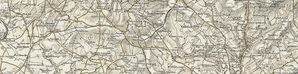 Old map of Afon Fawr in 1901
