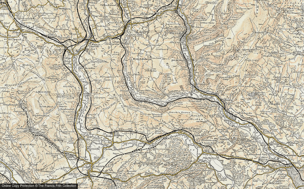 Old Map of Historic Map covering Ton-eithin in 1899-1900