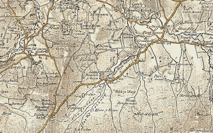 Old map of Afon Bryn berian in 1901