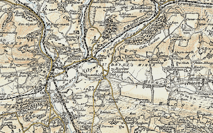 Old map of Bryncethin in 1899-1900