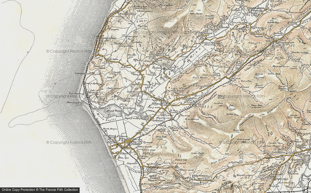 Old Map of Historic Map covering Afon Dysynni in 1902-1903
