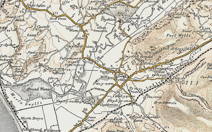 Old map of Afon Dysynni in 1902-1903