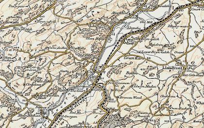 Old map of Brynderwen in 1902-1903
