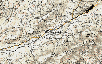 Old map of Bryneglwys in 1902-1903