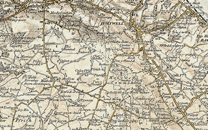 Old map of Brynford in 1902-1903