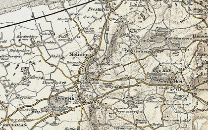 Old map of Bryniau in 1902-1903