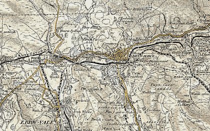 Old map of Brynmawr in 1899-1900