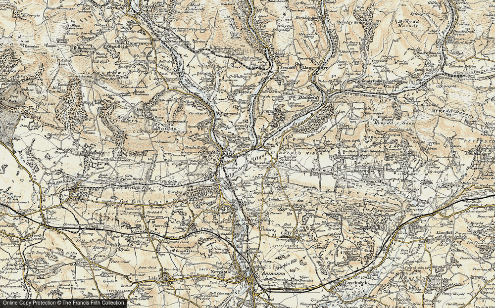 Old Map of Brynmenyn, 1900 in 1900