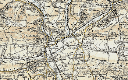 Old map of Brynmenyn in 1900