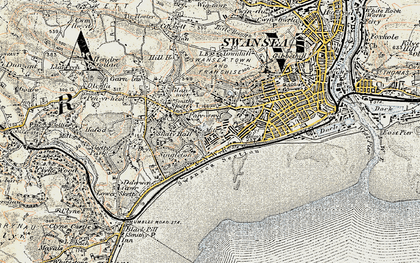 Old map of Brynmill in 1900-1901