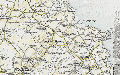 Old map of Brynrefail in 1903-1910