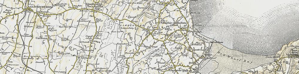 Old map of Brynteg in 1903-1910