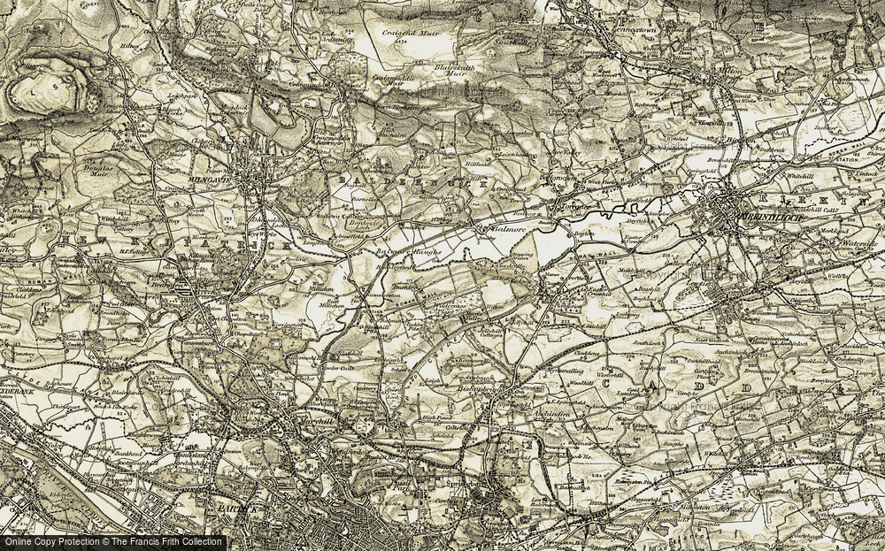Old Map of Historic Map covering Balmore Haughs in 1904-1905