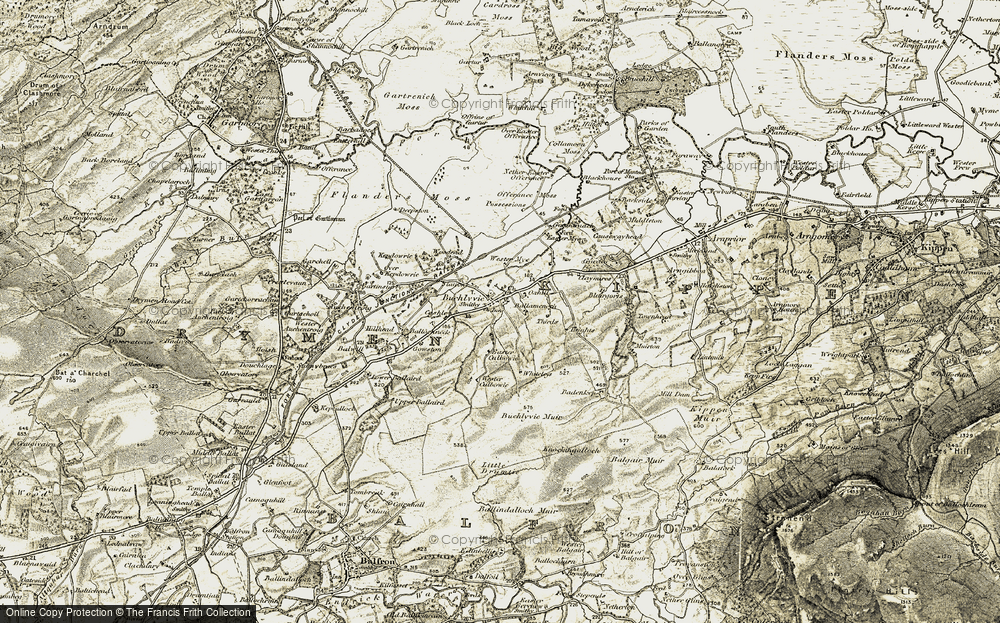 Old Map of Historic Map covering Ballamenoch in 1904-1907
