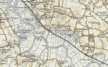 Old map of Buckenham in 1901-1902