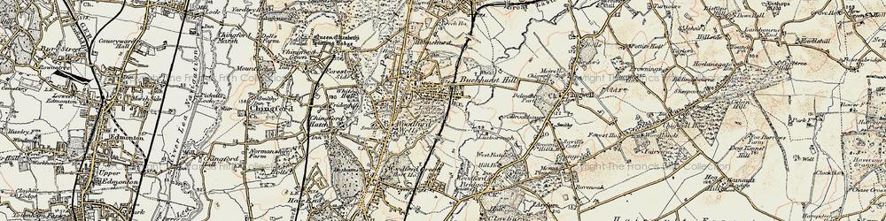 Old map of Buckhurst Hill in 1897-1898