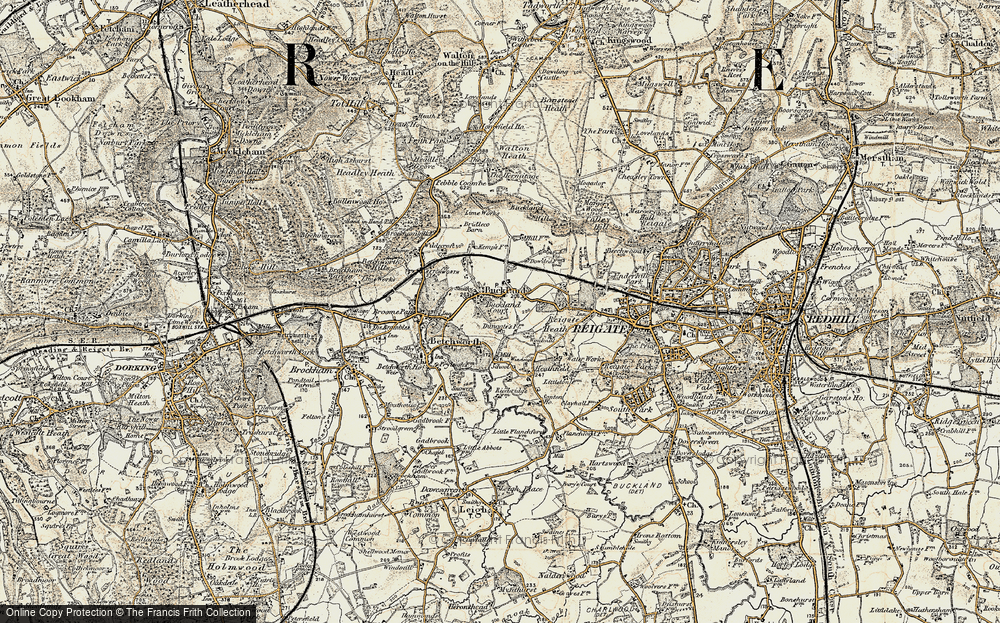 Old Map of Historic Map covering Wonham Manor in 1898-1909