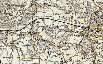 Old map of Buckland in 1898-1909