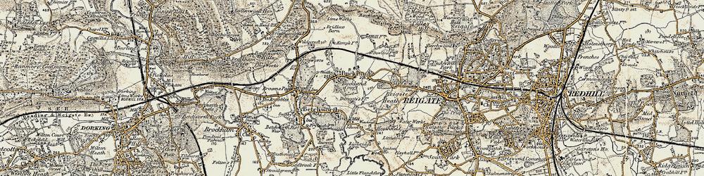 Old map of Wonham Manor in 1898-1909