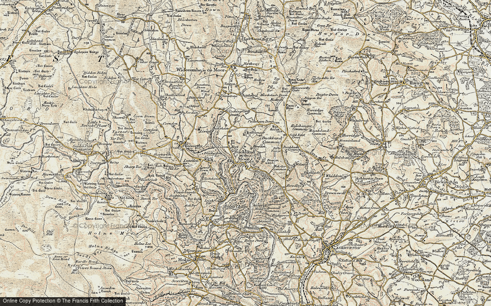 Old Map of Historic Map covering Ausewell Wood in 1899