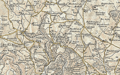 Old map of Buckland in the Moor in 1899