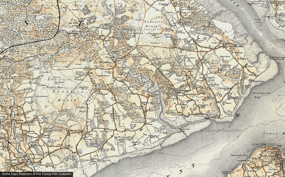 Old Map of Historic Map covering Ashen Wood in 1897-1909