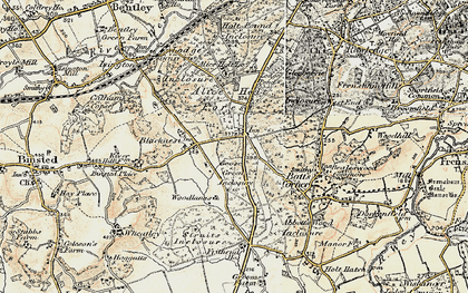 Old map of Alice Holt Forest in 1897-1909