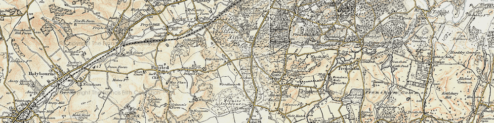 Old map of Alice Holt Lodge (Research Station) in 1897-1909