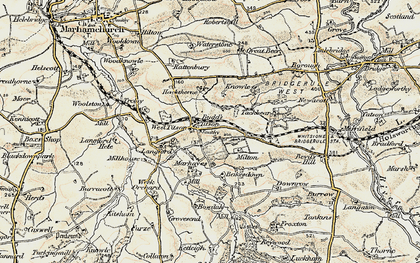 Old map of Langford Barton in 1900
