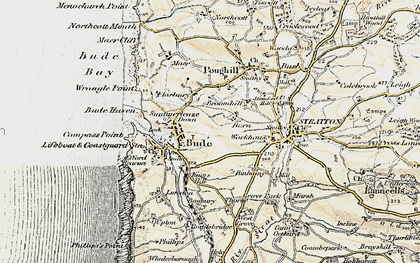 Old map of Bude in 1900