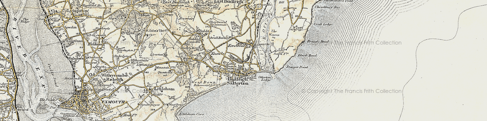 Old map of Budleigh Salterton in 1899