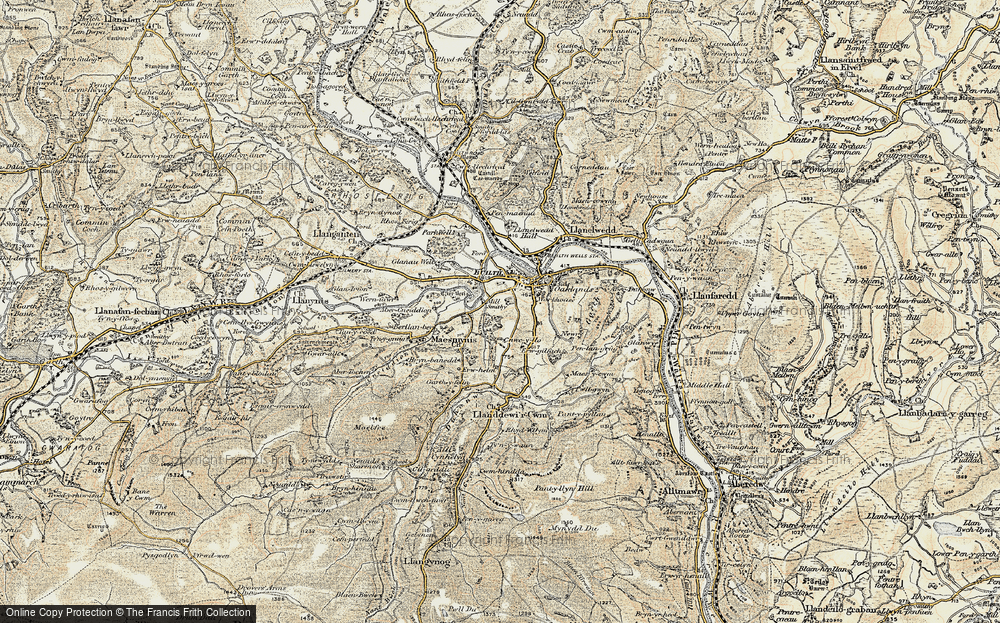 Old Map of Historic Map covering Abercynithon in 1900-1902