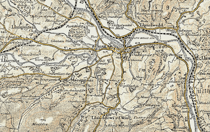 Old map of Builth Wells in 1900-1902