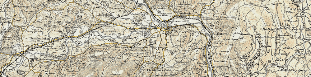 Old map of Abercynithon in 1900-1902
