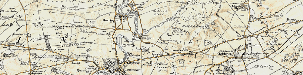 Old map of Bulford in 1897-1899