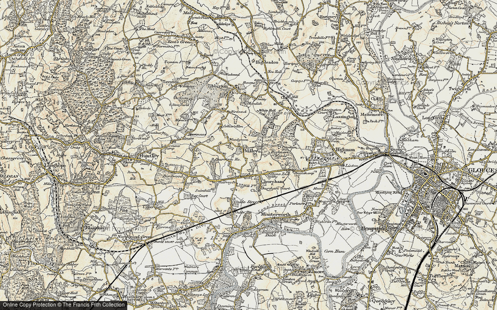 Old Map of Historic Map covering Woodgreen in 1898-1900