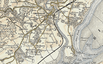 Old map of River Wye in 1899