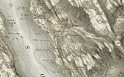 Old map of Allt a' Bhlàir Mhòine in 1906-1908