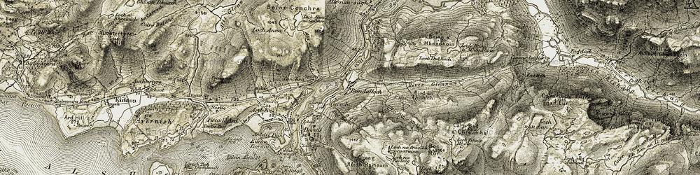 Old map of Allt na Ceàrdaich in 1908-1909