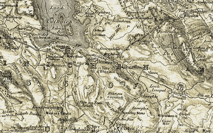 Old map of Ledaig in 1906-1907