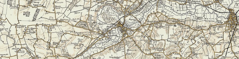 Old map of Bungay in 1901-1902